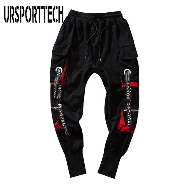 Hip Hop Joggers Men Letter Ribbons Cargo Pants Pockets Track Tactical Casual Techwear Male Trousers Sweatpants Sport Streetwear 4