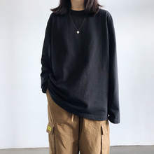 Женская футболка осенняя черная и белая однотонная с длинным