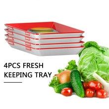 4 pçs empilhável reutilizável comida preservação bandeja tampa elástica recipiente de armazenamento geladeira bandeja mantendo espaçador fresco