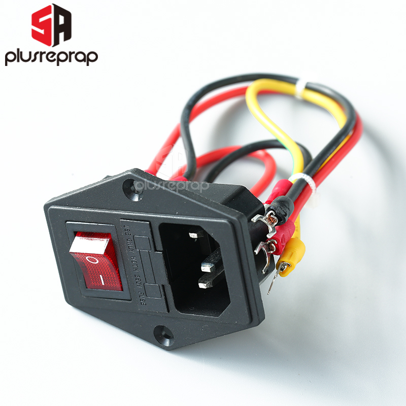 15A 250V Power Switch AC 3pin Power Socket With Red Triple Rocker Switch Tripod Feet Of Copper With Fuse For 3D Printer