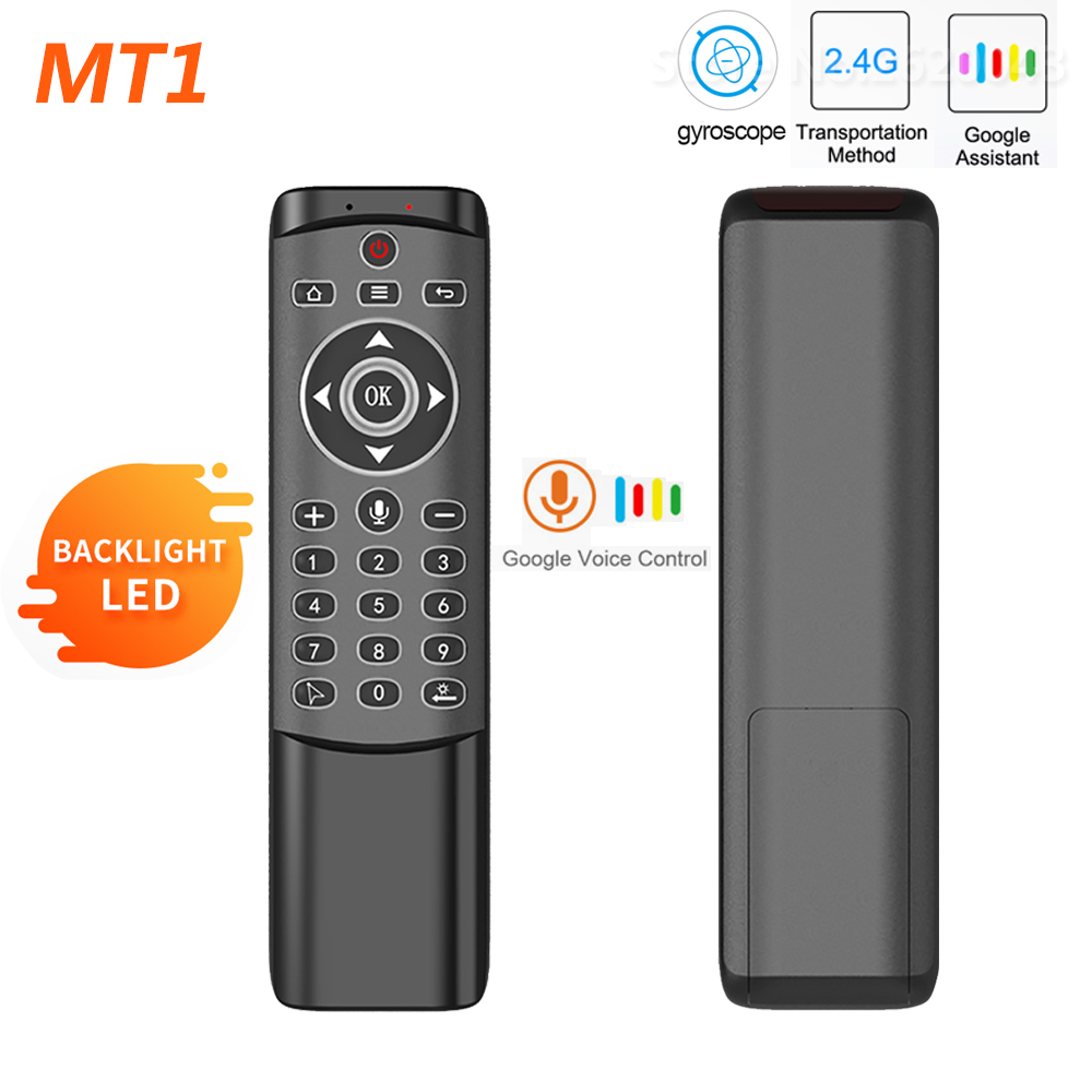 MT1 Backlit Gyro Wireless Fly Air Mouse 2.4G Smart Voice Remote Control for X96 mini H96 MAX X2 CUBE Android TV Box vs G20S G30 image