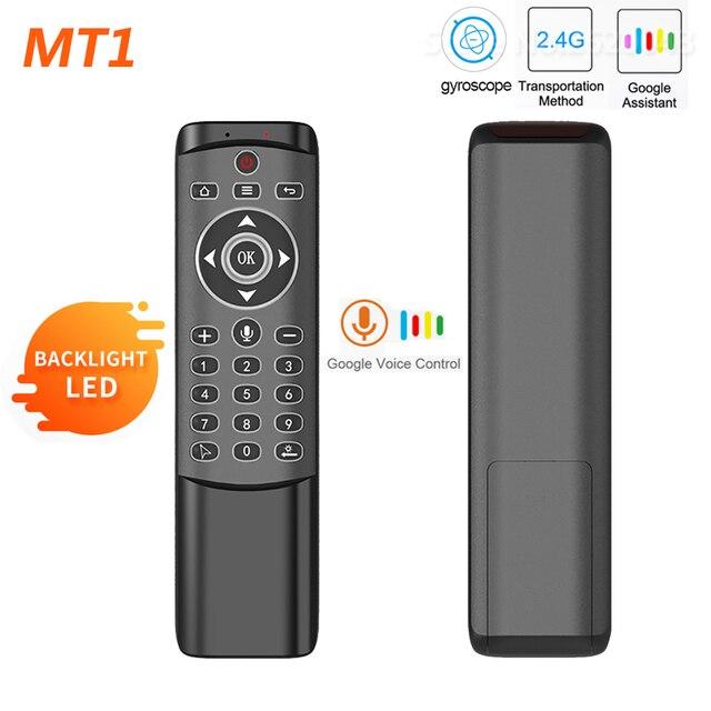 MT1 retroilluminato Gyro Wireless Fly Air Mouse 2.4G telecomando vocale intelligente per X96 mini H96 MAX X2 CUBE Android TV Box vs G20S PRO