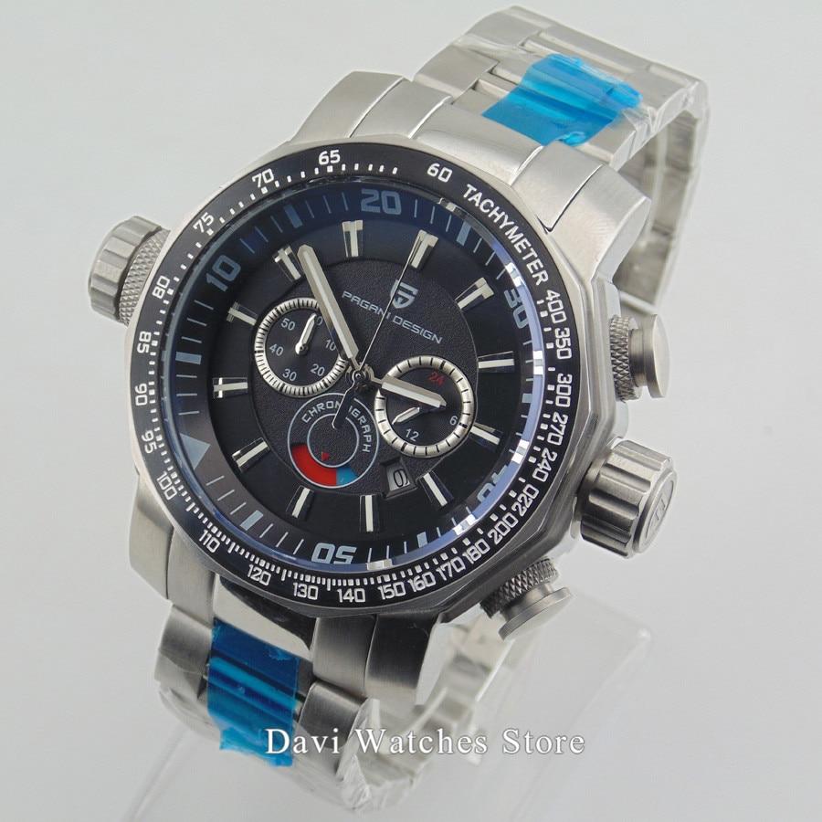 Pagani design Men's Watch Clock 46mm Sandblast Steel Case Mens Full Chronograph Quartz Wristwatch
