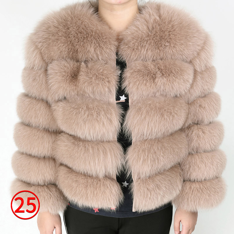 maomaokong 50CM Natural Real Fox Fur CoatWomen Winter natural fur Vest Jacket Fashion silm Outwear Real Fox Fur Vest Coat Fox 35