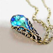 Новое модное ретро ожерелье в форме капли с синим Цирконом женское