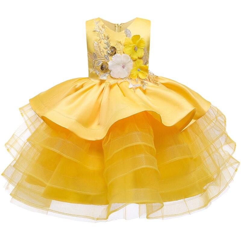 Вечерние платья с вышивкой для девочек; свадебные вечерние платья для девочек с цветами и бусинами; Детский карнавальный костюм Pengpeng - Цвет: yellow
