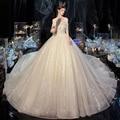 Vestidos De Novia Shining Ball Gown Wedding Dress with Veil Beading Pearls Luxury Robes De Mariage Chapel Train Trouwjurk