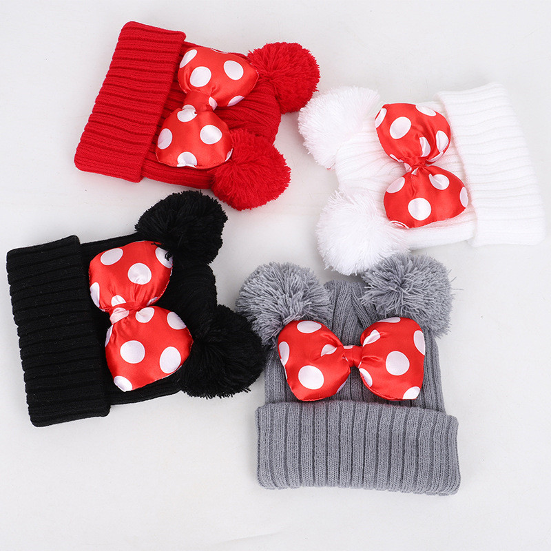 Solid Color bowknot double ball Thicken knitted hat winter warm hat   Skullies   cap   beanie   hat for kids boy and girl 33