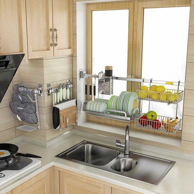 Prato escorredor geladeira suprimentos pia organizador de aço inoxidável cocina organizador cozinha cozinha cozinha rack armazenamento titular
