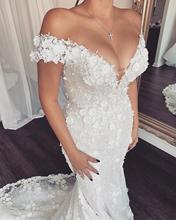 Eslieb vestido de novia de encaje floral 3d, sirena, Sexy, 2020