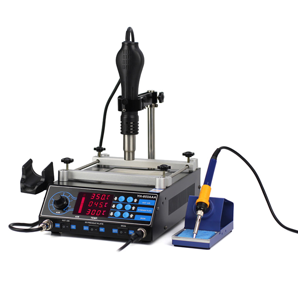 220V 3 In 1 Preheating Station Infrared BGA Rework Soldering Station Hot Air Heater 60W Tin Soldering Iron LED Digital Display
