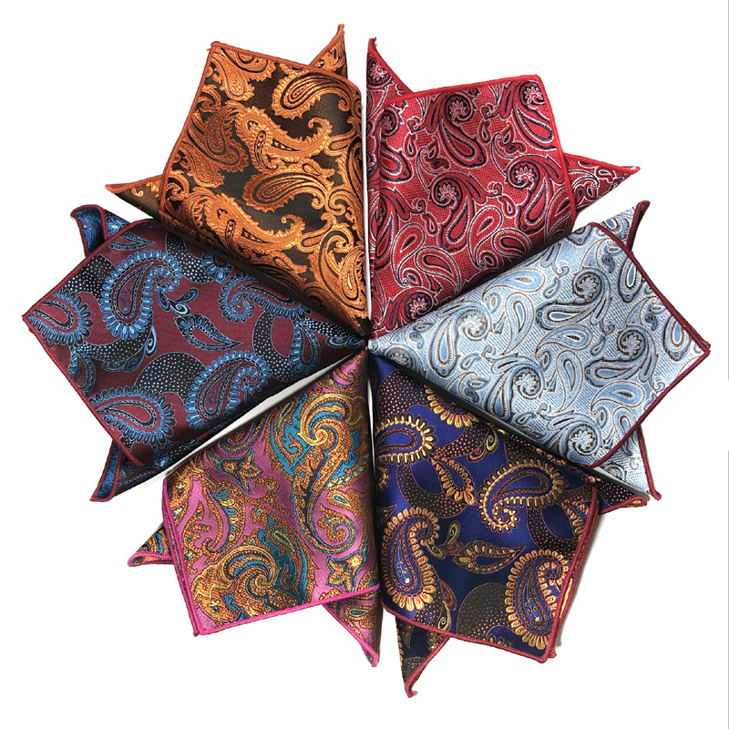 Men Handkerchief Luxury Jacquard Tie For Mens Gift Paisley Pocket Square Towel Hankies 26.5cm Fashion Full Dress Accessories