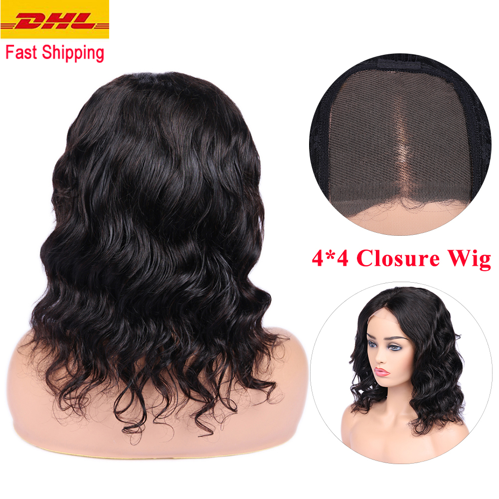 FAVE 4*4 Lace Closure Wigs Loose Wave Brazilian Remy Human Wigs Pre Plucked Bleached Knots For Black Women Free Shipping