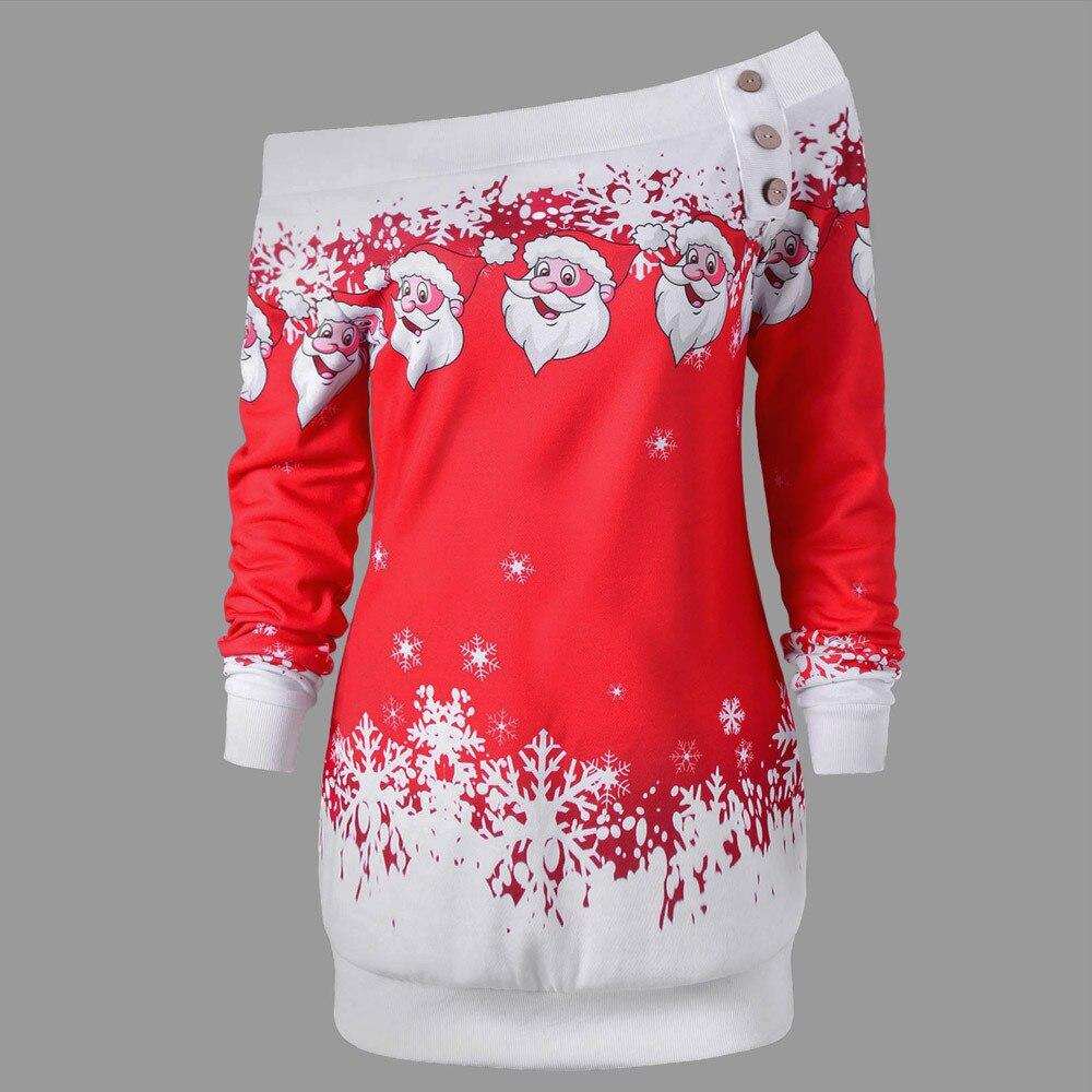 Plus Size Christmas Sweatshirt Women 2020 Xmas Merry Christmas Santa Claus Snowflake Print Pullover Tops Long Sleeve Womens Tops