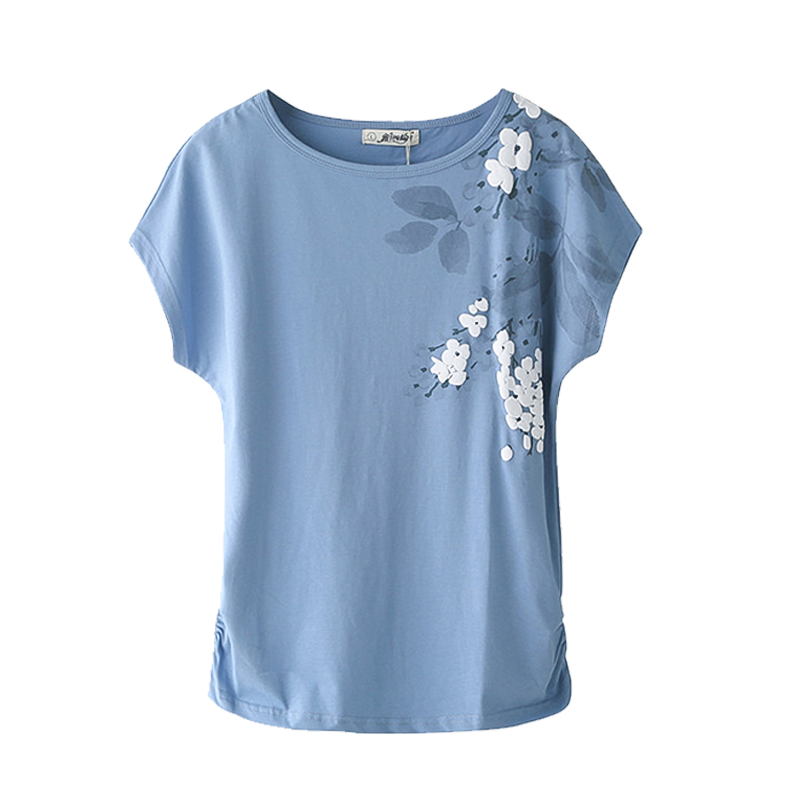 2019 Summer Women's T-shirt Tops Cotton Loose Short-Sleeve T-shirt Female White  Embroidery T-shirt Basic Large Size M 4XL