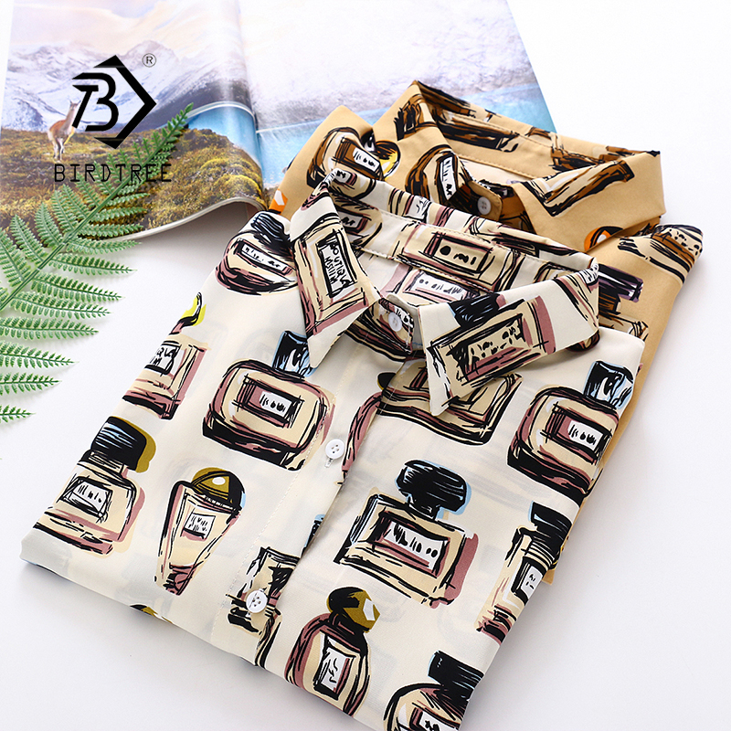 2020 Spring New Women Painting Doodle Print Chiffon Blouse Autumn Long Sleeve Shirt Vintage Loose Tops Feminina Blusa T9D757T