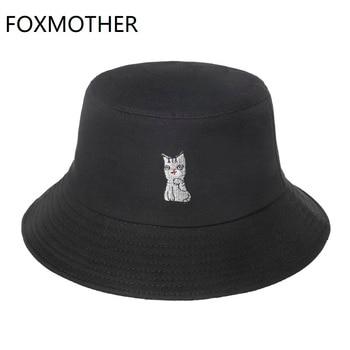 FOXMOTHER nueva moda lindo negro Rosa naranja blanco Animal gato patrón de pesca Gorras Casquette Bob sombrero de cubo para las mujeres