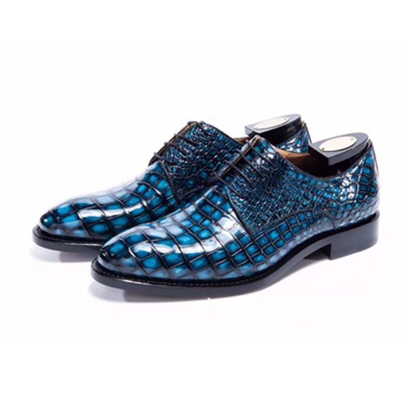 chue Autumn and winter new  Round head  crocodile  Men's shoes  Manual customization  Dress shoes form  shoes  marriage
