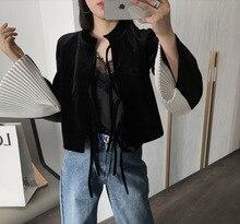 Autumn 2019 New Velvet Women Long Sleeve Shirt Collar Black Stitching Base Cardigans Flare O-Neck