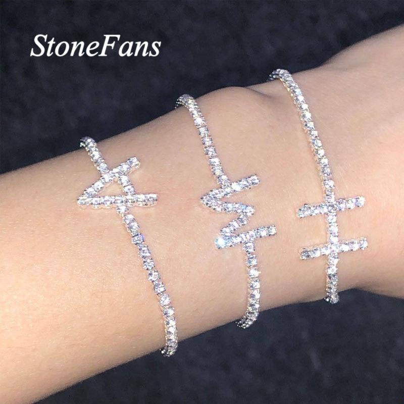 Модный браслет Stonefans с надписью INS, серебряная цепочка, ювелирные изделия для женщин, очаровательный простой браслет, регулируемый алфавит, ...
