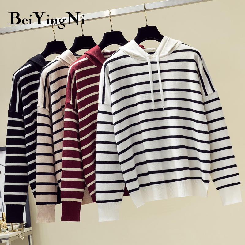 Beiyingni 2019 Autumn Winter Knit Sweater For Woman Stripe Loose Harajuku Hooded Pullover Vintage Knitted Jumper Coat Female Top