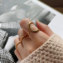 High quality stylish and simple Korean sterling silver 925 double opening adjustment geometric irregular women's ring jewelry