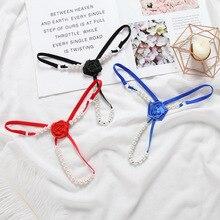 Pearl Panties Lingerie Thongs G-String Pretty-Bead Underwear Ladies Flower Low-Waist