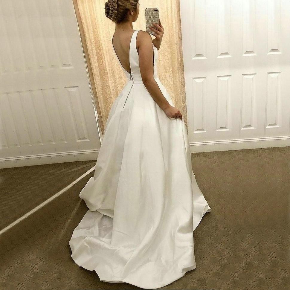 Simple White V-Neck Wedding Dress Satin Backless Dress Sleeveless Sweep Train Wedding Dress