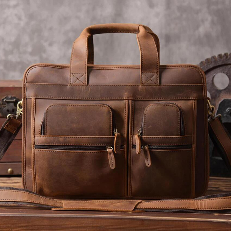 ROCKCOW Full Grain Leather Briefcase Men's Handbag Large Shoulder Messenger Laptop Bags DZ11