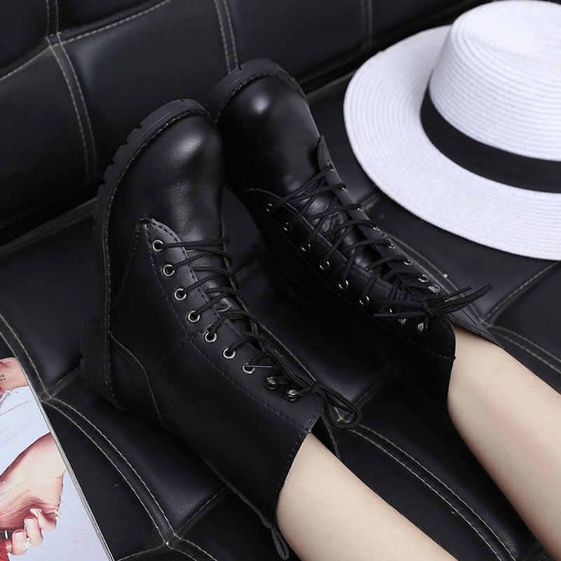 Mới Khóa Mùa Đông Xe Máy Nữ Phong Cách Anh Quốc Cổ Chân Giày Gothic Punk Thấp Gót Ống Boot Nữ Giày Plus Size889