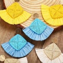 MAA-OE Boho moda arroz blanco amarillo azul hecho a mano flores pendientes para mujeres Vintage pendiente joyería fiesta boda regalo