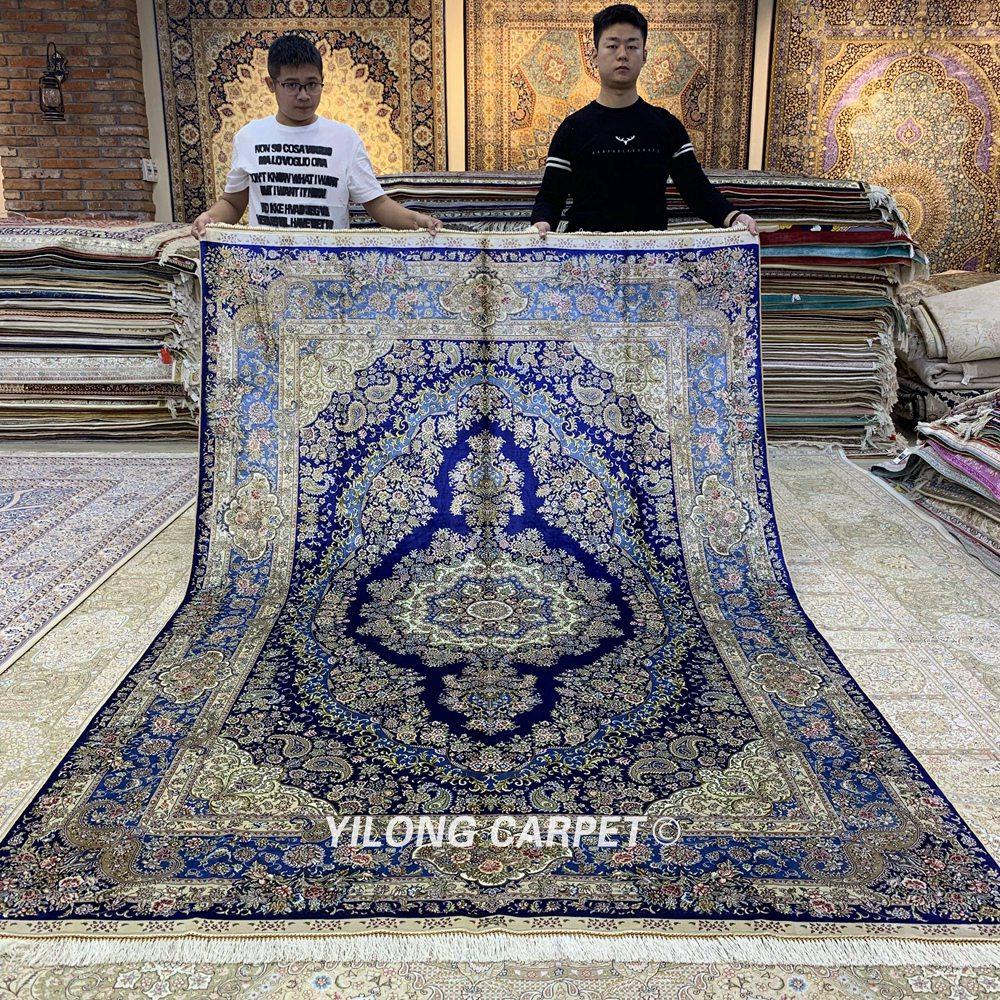 Yilong 6'x9 'Vantage persain alfombra de dormitorio azul oscuro hecha - Textiles para el hogar - foto 1