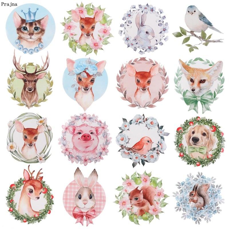 Prajna-Parche de hierro para animales de la selva, transferencia de calor de dibujos animados de conejo, pegatinas de ciervo, parches para ropa para niños, camisetas DIY