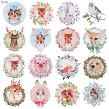 Prajna Jungle Animal Iron on Patch Cartoon Rabbit Heat Transfer Vinyl Cute Deer Stickers Patches For Kids Clothing DIY T-Shirts iron on cartoon anime patches for kids animal patch for clothing bag cute bat hero bear stickers diy heat transfers appliques h