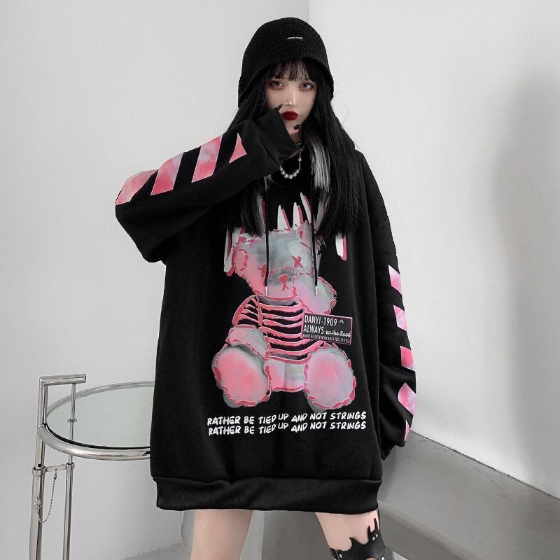 Moletom com capuz casual outono alta rua urso hoodies harajuku engraçado topos dos desenhos animados do punk com capuz streetwear preto hip hop feminino