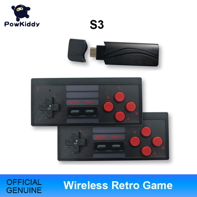 POWKIDDY S3 Video Game Console USB 8 Bit TV Wireless Handheld Mini Game Console Build In 628 Classic Dual Gamepad HDMI/AV Output