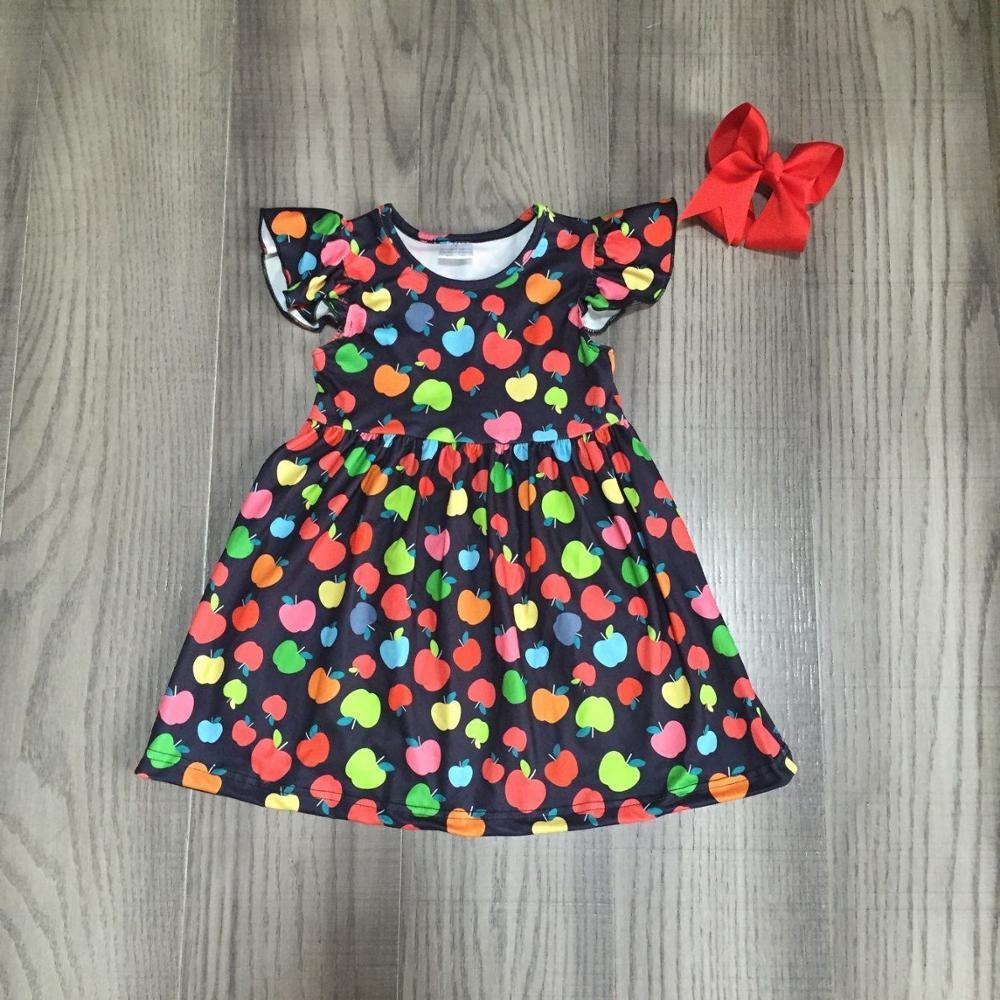 Baby Girls Summer Dress Girls Back To School Dress Kids Apple Print Milk Silk Dress With Bow
