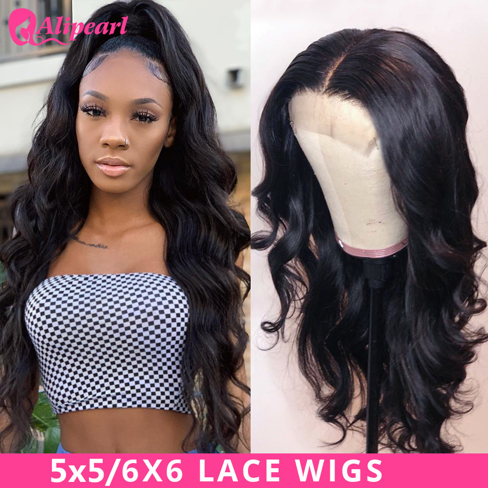 AliPearl Body Wave 6x6 Lace Closure Wig Human Hair Wigs Pre Plucked Brazilian 5x5 Lace Wigs For Black Women Remy 150 180 Density