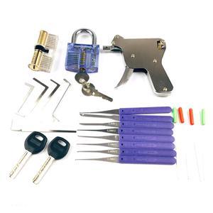 Image 3 - 2PCS Transparent Lock with Lock Tool Gun,12pcs Broken Key Remove Picking Tool Tension Tool,Best Locksmith Tools Practice PickSet