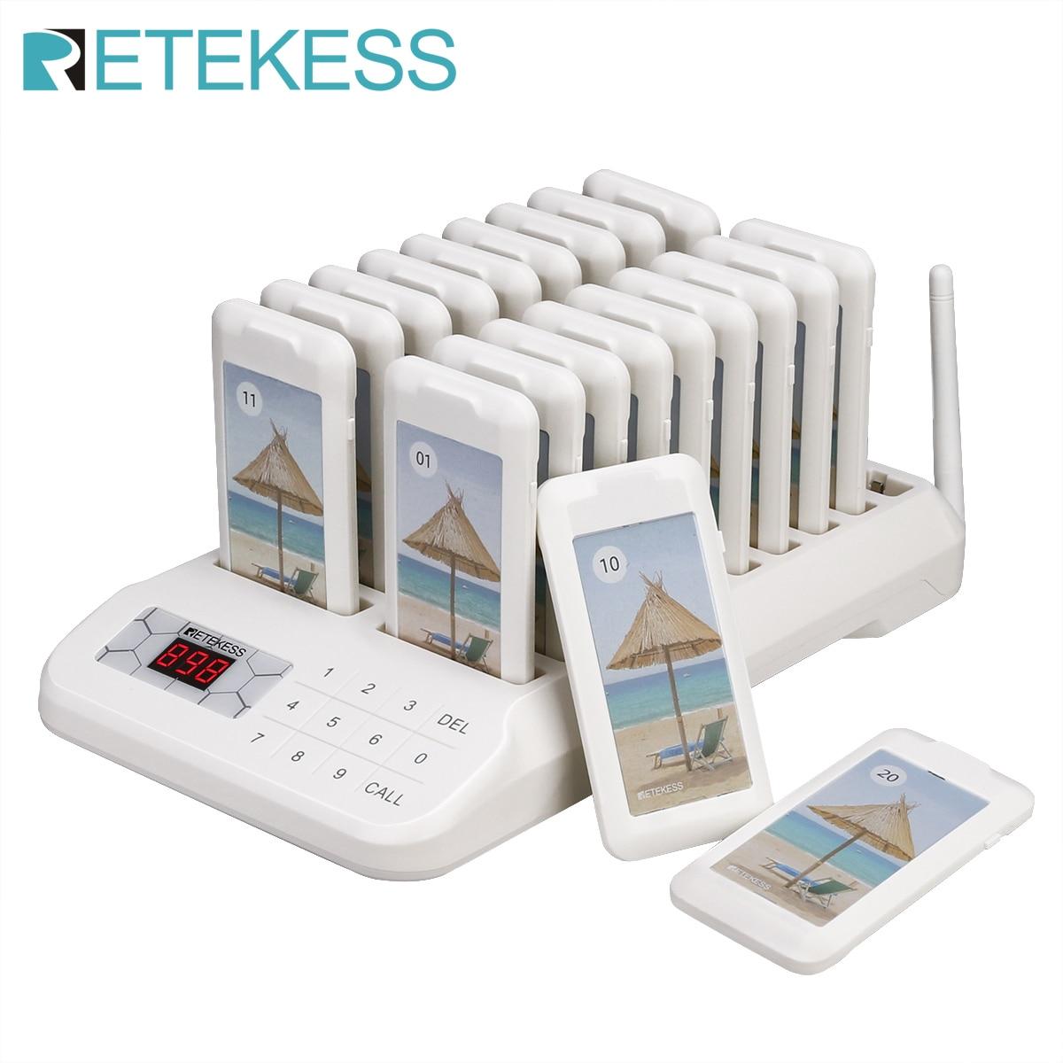 Retekess TD172 ресторанная пейджер Беспроводная система вызова с 20 каботажными пейджерами система очереди для ресторана церковная Детская клини...