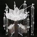 Старинный китайский стиль белая металлическая круглая корона шаг встряхивание боковой зажим античный полный набор свадебные аксессуары д...