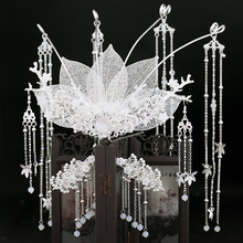 Ancient Chinese Style white metal round Crown Step Shake Side Clip Antique full set Wedding Hair Accessories