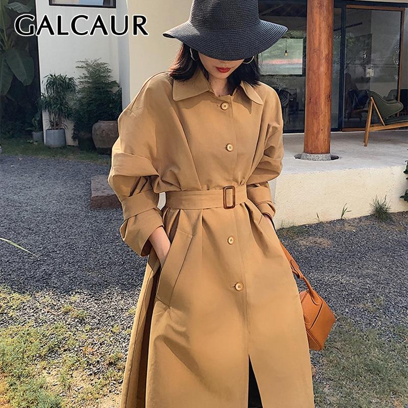 GALCAUR Vintage Windbreaker Women Lapel Collar Lantern Long Sleeve High Waist Lace Up Plus Size   Trench   Coat Female Fashion 2019