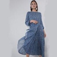 2019 Newest Autumn/Summer Blue ZA Print Dress Women Bohemian O Neck Korean Long Dress Beach Party Friends/Sister Gifts Trendy