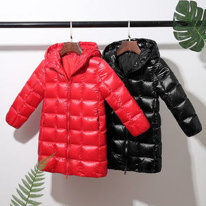 Image 5 - A15 2019 Fashion Girl Clothing Long Down Clothes Winter Boys Down Jacket Kids Warm Light  Hooded Coats Teen Outerwear Parka Coat