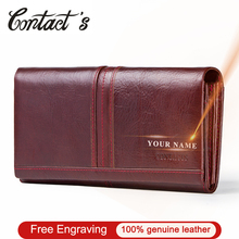 Contact's Free Engraving Genuine Leather Women Wallets Female Coin Purse Fashion Clutch Wallet for Ladies Handy Bags Card Holder