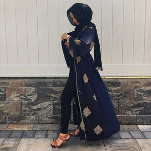 Image 3 - ดูไบ Arab เปิด Abaya มุสลิม Hijab ผู้หญิง Kimono LACE up Kaftan Abayas เสื้อผ้าอิสลาม Caftan Musulman Marocain ยาว robe