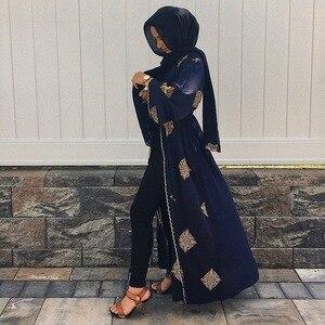 Image 3 - ドバイアラブオープンアバヤイスラム教徒ヒジャーブドレス女性着物レースアップローブドバイカフタン abayas イスラム服カフタン musulman marocain ロングローブ
