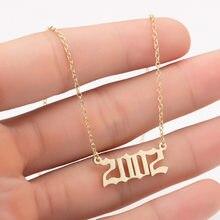 Нержавеющая сталь летнее Boho Воротник; Birthday1980-2020 2002 ожерелье, подвеска, колье, для женщин, для девочек; Украшения в подарок на Новый год