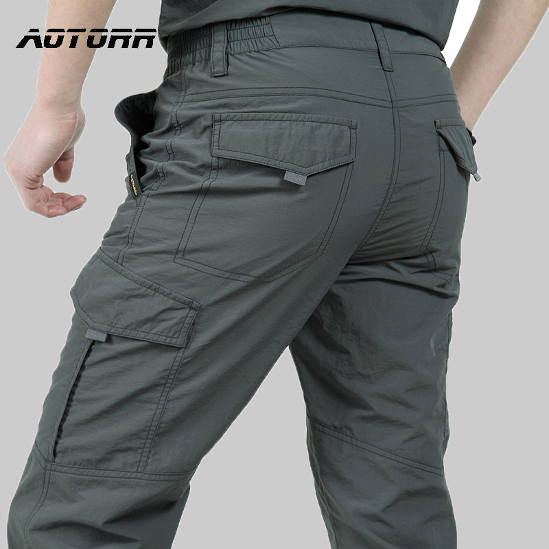 Breathable Waterproof Hiking Pants Men Thin Quick Dry Trousers Outdoor Climbing Pants Male Military Tactical Cargo Sweatpants
